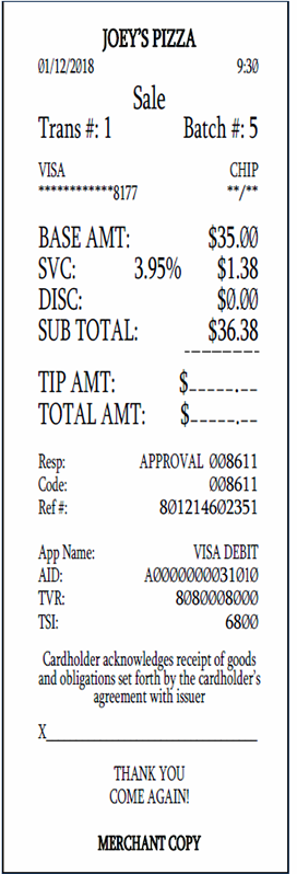 Cash Discount Receipt